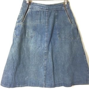 1970s Distressed Denim Skirt Faded Hippie Festival
